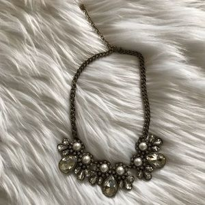Loft Clear Pearl Jeweled Statement Necklace